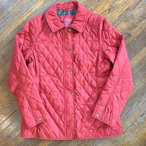 LL Bean Women's Quilted Jacket Plaid Lining Size M